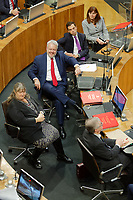Pictured L-R: First Minister for Wales Carwyn Jones reacts to a comment with Ken Skates AM. Tuesday 11 December 2018<br /> Re: First Minister for Wales Carwyn Jones during his last First Minister Questions at the Senedd in Cardiff Bay, Wales, UK. He will be succeeded by Assembly Member Mark Drakeford.