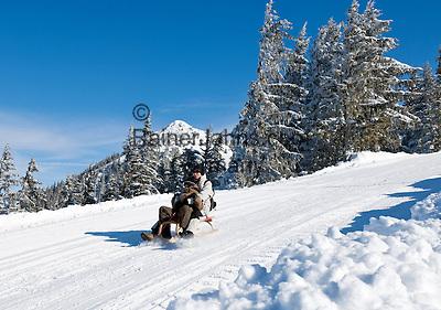 Germany, Bavaria, Upper Bavaria, above Tegernseer Valley, at Wallberg mountain, Germany's longest winter toboggan run 6.5 km