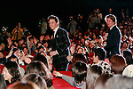 (L to R) Actor Eddie Redmayne and Director Tom Hooper appear between fans during the Japan premiere of The Danish Girl on March 9, 2016, Tokyo, Japan. Eddie Redmayne with his wife Hannah Bagshawe came to Japan to greet fans during the red carpet for the movie The Danish Girl. The film was nominated in four categories at the Academy Awards with Best Supporting Actress going to Alicia Vikander. Redmayne who won Best Actor at the Academy Awards in 2015 lost out this year in the Best Actor category to Leonardo DiCaprio. The film hits Japanese theaters on March 18. (Photo by Rodrigo Reyes Marin/NipponNews.net)