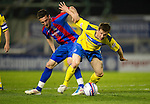 Inverness Caley Thistle v St Johnstone....28.03.12   SPL.Chris Millar holds off Graeme Shinnie.Picture by Graeme Hart..Copyright Perthshire Picture Agency.Tel: 01738 623350  Mobile: 07990 594431