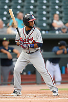 Designated hitter Darling Florintino (13) of the Rome Braves bats in a game against the Columbia Fireflies on Tuesday, June 4, 2019, at Segra Park in Columbia, South Carolina. Columbia won, 3-2. (Tom Priddy/Four Seam Images)