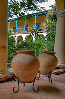 Cuba, Havana.  Convent of Santa Clara, founded 1644.  Old Havana.  Water Pots and Courtyard.