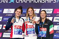 EFIMOVAYuliya RUS Gold Medal<br /> CLARKImogen GBR Silver Medal<br /> CASTIGLIONIArianna ITA Bronze Medal<br /> 50m Breaststroke Women Final<br /> Glasgow 09/08/2018<br /> Swimming Tollcross International Swimming Centre<br /> LEN European Aquatics Championships 2018 <br /> European Championships 2018 <br /> Photo Giorgio Scala/ Deepbluemedia /Insidefoto
