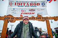 Nome Mayor Richard Beneville stands at the finish line in Nome to welcome several mushers during the 2017 Iditarod on Friday March 17, 2017.<br /> <br /> Photo by Jeff Schultz/SchultzPhoto.com  (C) 2017  ALL RIGHTS RESERVED