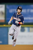 Ryan Schimpf (3) of the New Hampshire Fisher Cats rounds the bases after hitting a home run against the Richmond Flying Squirrels at The Diamond on June 13, 2014 in Richmond, Virginia.  The Fisher Cats defeated the Flying Squirrels 6-3.  (Brian Westerholt/Four Seam Images)
