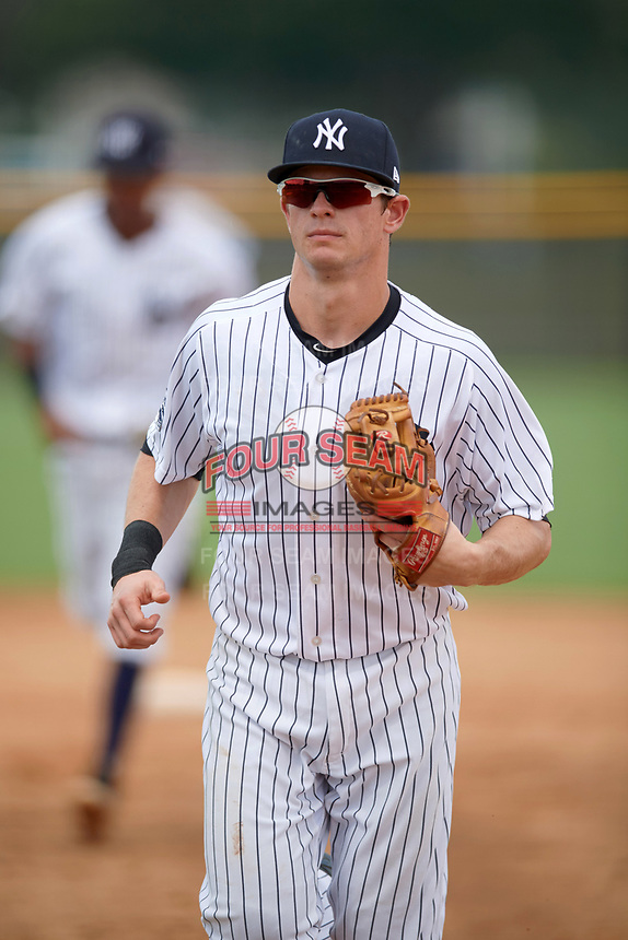 New York Yankees second baseman Nick Solak (2) jogs to the dugout during an Instructional League game against the Pittsburgh Pirates on September 29, 2017 at the Yankees Minor League Complex in Tampa, Florida.  (Mike Janes/Four Seam Images)