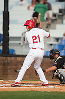 Paul DeJong (21) of the Johnson City Cardinals at bat against the Bristol Pirates at Howard Johnson Field at Cardinal Park on July 6, 2015 in Johnson City, Tennessee.  The Pirates defeated the Cardinals 2-0 in game one of a double-header. (Brian Westerholt/Four Seam Images)
