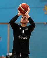 Cameron Nyarko of Surrey Scorchers warms up during the BBL Championship match between Surrey Scorchers and Newcastle Eagles at Surrey Sports Park, Guildford, England on 20 March 2021. Photo by Liam McAvoy.