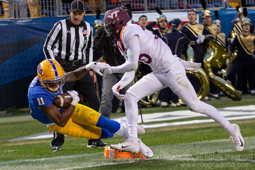 Pitt wide receiver Taysir Mack (11) makes a catch. The Pitt Panthers defeated the Virginia Tech Hokies 52-22 on November 10, 2018 at Heinz Field in Pittsburgh, Pennsylvania.