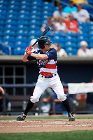 Quad Cities River Bandits center fielder Logan Mattix (14) at bat during a game against the West Michigan Whitecaps on July 23, 2018 at Modern Woodmen Park in Davenport, Iowa.  Quad Cities defeated West Michigan 7-4.  (Mike Janes/Four Seam Images)