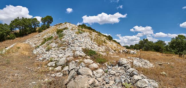 Picture & image of Hittite ramparts of the Sphinx Gate. Hattusa (also Ḫattuša or Hattusas) late Anatolian Bronze Age capital of the Hittite Empire. Hittite archaeological site and ruins, Boğazkale, Turkey.