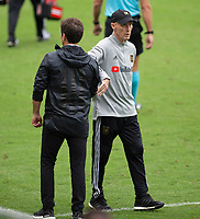 LOS ANGELES, CA - OCTOBER 25: Head coaches Bob Bradley of the Los Angeles Football Club and Guillermo Barros Schelotto of the Los Angeles Galaxy congratulate each other after the match during a game between Los Angeles Galaxy and Los Angeles FC at Banc of California Stadium on October 25, 2020 in Los Angeles, California.