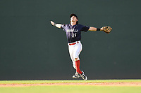 Shortstop Ryan Fitzgerald (24) of the Greenville Drive calls for a pop fly in Game 1 of a doubleheader against the Rome Braves on Friday, August 3, 2018, at Fluor Field at the West End in Greenville, South Carolina. Rome won, 7-6. (Tom Priddy/Four Seam Images)