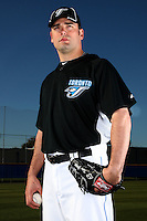 March 1, 2010:  Pitcher Kevin Gregg (63) of the Toronto Blue Jays poses for a photo during media day at Englebert Complex in Dunedin, FL.  Photo By Mike Janes/Four Seam Images