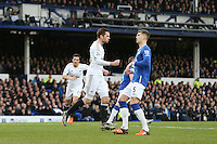 Gylfi Sigurdsson celebrates scoring his sides first goal during the Barclays Premier League match between Everton and Swansea City played at Goodison Park, Liverpool. 0-1