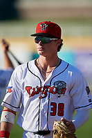 Lansing Lugnuts Griffin Conine (38) before a Midwest League game against the Burlington Bees on July 18, 2019 at Cooley Law School Stadium in Lansing, Michigan.  Lansing defeated Burlington 5-4.  (Mike Janes/Four Seam Images)