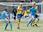 Forfar v St Johnstone….27.07.19      Station Park     Betfred Cup       <br />Ali McCann gets between Gary Irvine and Andy Jackson<br />Picture by Graeme Hart. <br />Copyright Perthshire Picture Agency<br />Tel: 01738 623350  Mobile: 07990 594431