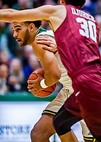 8 December 2018: University of Vermont Forward Isaiah  Moll, a Freshman from Albany, NY, in first half action against the Harvard University Crimson at Patrick Gymnasium in Burlington, Vermont. The America East Catamounts overcame a 10-point 2nd half deficit, to defeat the Ivy League Crimson 71-65 in NCAA Division I inter-league play. Mandatory Credit: Ed Wolfstein Photo *** RAW (NEF) Image File Available ***