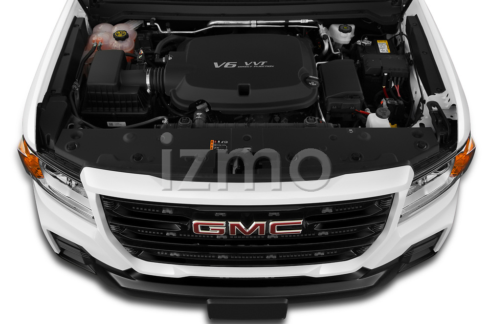 Car Stock 2021 GMC Canyon Elevation-Standard 4 Door Pick-up Engine  high angle detail view