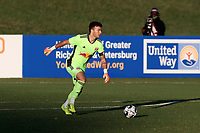 RICHMOND, VA - SEPTEMBER 30: Luca Lewis #50 of New York Red Bulls II plays the ball during a game between North Carolina FC and New York Red Bulls II at City Stadium on September 30, 2020 in Richmond, Virginia.