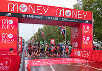 4th October 2020, London, England; 2020 London Marathon; The athletes stream away from the start line on The Mall for the Elite Men's Race. The historic elite-only Virgin Money London Marathon taking place on a closed-loop circuit around St James's Park in central London on Sunday 4 October 2020.