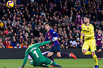 Carles Alena of FC Barcelona (C) attempts a kick for scores his goal during the La Liga 2018-19 match between FC Barcelona and Villarreal at Camp Nou on 02 December 2018 in Barcelona, Spain. Photo by Vicens Gimenez / Power Sport Images
