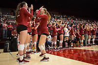 STANFORD, CA - NOVEMBER 17: Stanford, CA - November 17, 2019: Jenna Gray, Caitie Baird at Maples Pavilion. #4 Stanford Cardinal defeated UCLA in straight sets in a match honoring neurodiversity. during a game between UCLA and Stanford Volleyball W at Maples Pavilion on November 17, 2019 in Stanford, California.