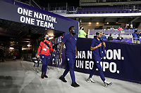 ORLANDO CITY, FL - JANUARY 31: Jozy Altidore #17 of the United States makes his way out to warm up before a game between Trinidad and Tobago and USMNT at Exploria stadium on January 31, 2021 in Orlando City, Florida.