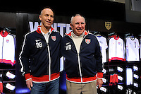 USA National Team Head Coach Bob Bradley and National Soccer Hall of Fame member Walter Bahr [pose for photos during the unveiling of the USA Men's National Team new uniform at Niketown in NYC, NY, on April 29, 2010.