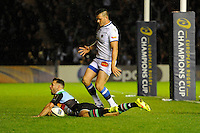 Danny Care of Harlequins dives over to score a try during the European Rugby Champions Cup  Round 1 match between Harlequins and Castres Olympique at the Twickenham Stoop on Friday 17th October 2014 (Photo by Rob Munro)