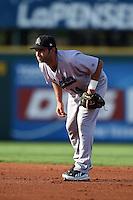 Jupiter Hammerheads second baseman Anthony Gomez (14) during a game against the Bradenton Marauders on June 25, 2014 at McKechnie Field in Bradenton, Florida.  Bradenton defeated Jupiter 11-0.  (Mike Janes/Four Seam Images)