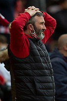 22nd May 2021; Stadium of Light, Sunderland, Tyne and Wear, England; English Football League, Playoff, Sunderland versus Lincoln City; Sunderland fan shows his dissapointment after the final whistle as Lincoln beat Sunderland 3-2 (aggregate)