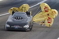 Apr 10, 2015; Las Vegas, NV, USA; NHRA funny car driver Jeff Arend during qualifying for the Summitracing.com Nationals at The Strip at Las Vegas Motor Speedway. Mandatory Credit: Mark J. Rebilas-