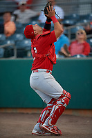 Palm Beach Cardinals catcher Jose Godoy (27) settles under a pop up during a game against the Florida Fire Frogs on May 1, 2018 at Osceola County Stadium in Kissimmee, Florida.  Florida defeated Palm Beach 3-2.  (Mike Janes/Four Seam Images)