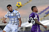 Achraf Hakimi of FC Internazionale and Igor Julio of ACF Fiorentina compete for the ball during the Italy Cup round of 16 football match between ACF Fiorentina and FC Internazionale at Artemio Franchi stadium in Firenze (Italy), January 13th, 2021. Photo Andrea Staccioli / Insidefoto
