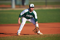 Farmingdale State Rams third baseman Ryan Kelly (9) during the second game of a doubleheader against the FDU-Florham Devils on March 15, 2017 at Lake Myrtle Park in Auburndale, Florida.  FDU-Florham defeated Farmingdale 8-4.  (Mike Janes/Four Seam Images)