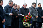 02.01.2020 Ibrox disaster memorial service: Rangers directors Stewart Robertson and Graeme Park read out the names of the dead supporters as John Greig holds a wreath in their memory