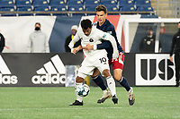 FOXBOROUGH, MA - OCTOBER 09: Eduardo Sosa #10 of Fort Lauderdale CF controls the ball as Collin Verfurth #35 of New England Revolution II attempts to tackle during a game between Fort Lauderdale CF and New England Revolution II at Gillette Stadium on October 09, 2020 in Foxborough, Massachusetts.