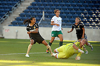 FC Gold Pride forwards Marta (10) and defender Ali Riley (3) watch as Marta's shot gets past Red Stars goalkeeper Jillian Loyden (1) for the Pride's first goal.  The FC Gold Pride defeated the Chicago Red Stars 3-2 at Toyota Park in Bridgeview, IL on August 22, 2010