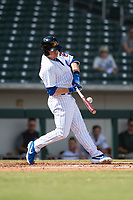 Mesa Solar Sox shortstop Nico Hoerner (17), of the Chicago Cubs organization, swings at a pitch during an Arizona Fall League game against the Peoria Javelinas at Sloan Park on October 11, 2018 in Mesa, Arizona. Mesa defeated Peoria 10-9. (Zachary Lucy/Four Seam Images)