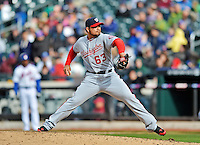 11 April 2012: Washington Nationals pitcher Henry Rodriguez on the mound against the New York Mets at Citi Field in Flushing, New York. The Nationals shut out the Mets 4-0 to take the rubber match of their 3-game series. Mandatory Credit: Ed Wolfstein Photo