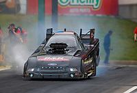 May 19, 2017; Topeka, KS, USA; NHRA funny car driver Brian Stewart during qualifying for the Heartland Nationals at Heartland Park Topeka. Mandatory Credit: Mark J. Rebilas-USA TODAY Sports