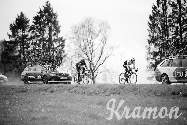 Jack Bobridge (AUS/Trek-Segafredo) & Alberto Losada (ESP/Katusha) trying to get back into contingent<br /> <br /> 102nd Liège-Bastogne-Liège 2016