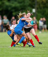 24 August 2019; Midfield collision as Maeve Liston, Sene Naoupu, Kelly McCormill and Elise O'Byrne White meet during the Women's Interprovincial Championship match between Ulster and Leinster at Armagh RFC in Armagh. Photo by John Dickson / DICKSONDIGITAL
