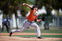 Baltimore Orioles pitcher Brenan Hanifee (92) delivers a pitch during a minor league Spring Training game against the Tampa Bay Rays on March 29, 2017 at the Buck O'Neil Baseball Complex in Sarasota, Florida.  (Mike Janes/Four Seam Images)