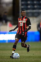 Maryland Terrapins midfielder Chris Odoi-Atsem (28). The Notre Dame Fighting Irish defeated the Maryland Terrapins 2-1 during the championship match of the division 1 2013 NCAA  Men's Soccer College Cup at PPL Park in Chester, PA, on December 15, 2013.