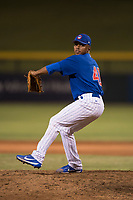 AZL Cubs 1 relief pitcher Fauris Guerrero (41) delivers a pitch during an Arizona League game against the AZL Diamondbacks at Sloan Park on June 18, 2018 in Mesa, Arizona. AZL Diamondbacks defeated AZL Cubs 1 7-0. (Zachary Lucy/Four Seam Images)