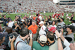Florida State head coach Bobby Bowden greets his son and Clemson head coach Tommy Bowden prior to the game between the Florida State Seminoles and the Clemson Tiger in Tallahassee, Florida September 16, 2006. (Mark Wallheiser/TallahasseeStock.com)