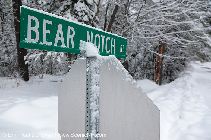 Intersection of the Kancamagus Highway (route 112) and Bear Notch Road in the White Mountains, New Hampshire USA.  Bear Notch Road is a seasonal road closed and gated during the winter season.