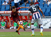 Calcio, Serie A: Roma vs Udinese. Roma, stadio Olimpico, 20 agosto 2016.<br /> Roma's Stephan El Shaarawy, left, is challenged by Udinese's Danilo during the Italian Serie A football match between Roma and Udinese at Rome's Olympic Stadium, 20 August 2016. Roma won 4-0.<br /> UPDATE IMAGES PRESS/Riccardo De Luca